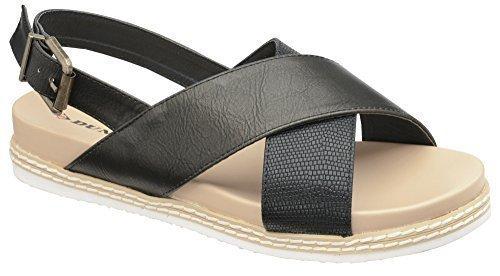 Dunlop Femmes Matelassé Foot Confort Cuissard Mule Sandales Chaussures Noir