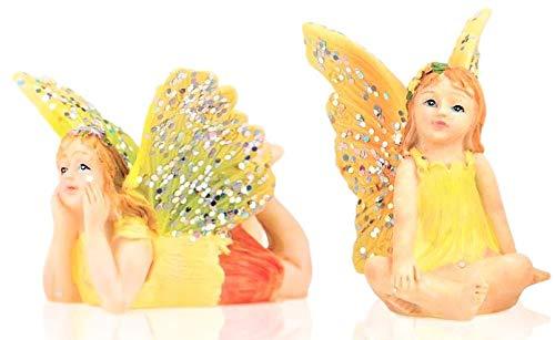 Miniatur-Feengarten, 2 Stück, kleine sitzende gelbe Fee und Fliegende liegende Fee - aus Harz, Bunte Pixie-Outfits & glitzernde Flügel - für den Außenbereich oder als Hausdeko, 2 Stück