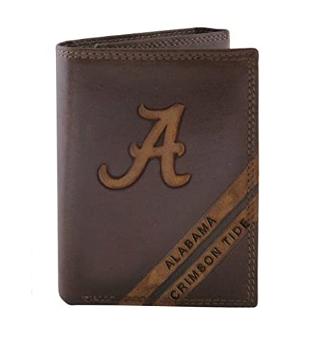 NCAA Alabama Crimson Tide Zep-Pro Pull-Up Leather Trifold Embossed Wallet, Brown by Zeppelin Products, Inc.