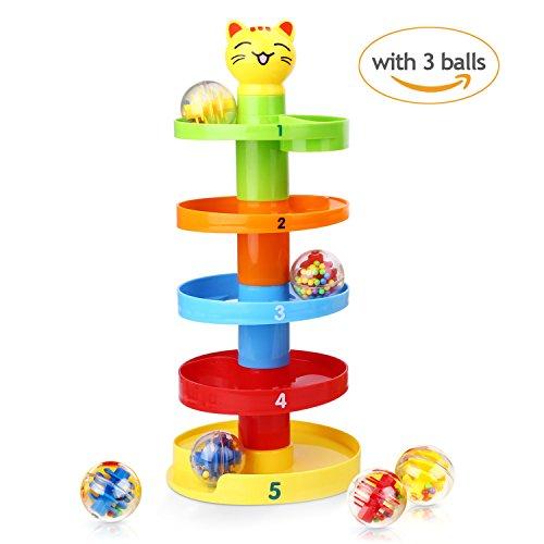 Peradix Strudel Kugelbahn pädagogisches Spielzeug Puzzle Rolling Ball mit 5 Stapel 3 Kugeln für Kinder ab 9 Monate (Neue Mode)