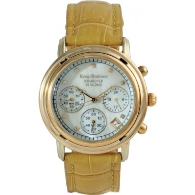 krug-baumen-ladies-principle-diamond-gold-champagne-mother-of-pearl-dial-tan-watch-150574dl