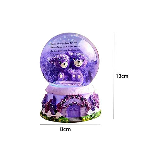 AOJIAOGUI Hug Bear Lover Music Boxes Crystal Snow Globe Music Box with Light Wedding Birthday Lover Valentine's Day Girlfriend Gifts Music Boxes,1 (Globe Light Crystal)