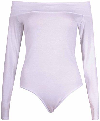 Purple Hanger Femmes Uni Ladies Manches Longues Épaule Découverte Extensible Fermeture Bouton Pression Justaucorps Body Blanc