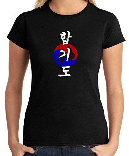 T-Shirtshock - T-shirt para las mujeres TAM0094 korean hapkido dark tshirt, Talla S