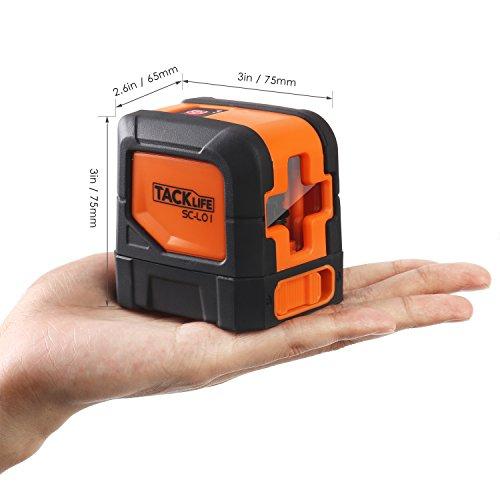 Tacklife SC L01 Klassischer Kreuzlinien- Laser mit Messbereich 10M und Neigungsfunktion, 110 Grad selbstnivellierenden Kreuzlinienlaser IP 54 Staub- und Spritzwasserschutz inkl. Schutztasche