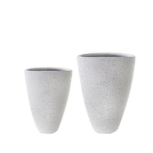 1 x Vase Polar Keramik silber m. weißem Finish gefrostete Optik Höhe 40 cm, f. Blumen, Deko