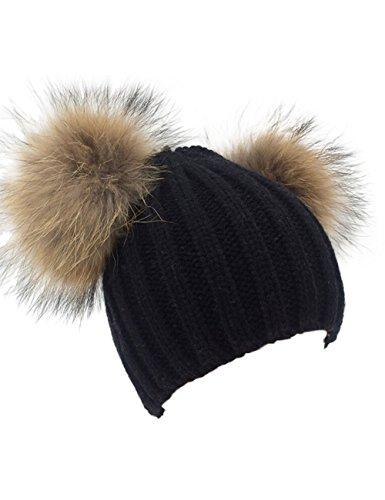 Damen Echtfell Waschbär Fell Pelz Bommel Strick Mütze Winter-Mütze Bommelmütze (schwarz) (Ball-kappe Damen)