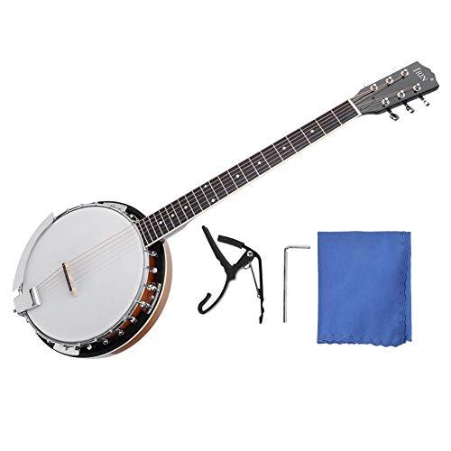 Dilwe 6 Saiten Banjo, Sapele Banjo Instrument mit Stoff Capo Schraubenschlüssel für Banjo-Spieler