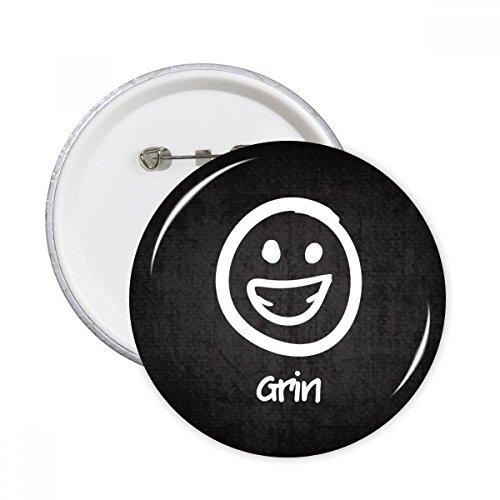 DIYthinker Grin Weiß Nettes Chat Emoji-Muster Runde Stifte Abzeichen-Knopf Kleidung Dekoration 5pcs Geschenk Mehrfarbig L