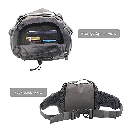 NatureFun wasserdichten Outdoor-Hüfttasche, Multifunktionsgürteltasche Daypack mit 2 Wasserflasche Taschen für Jogging Wandern Camping Radfahren Reisen Schwarz