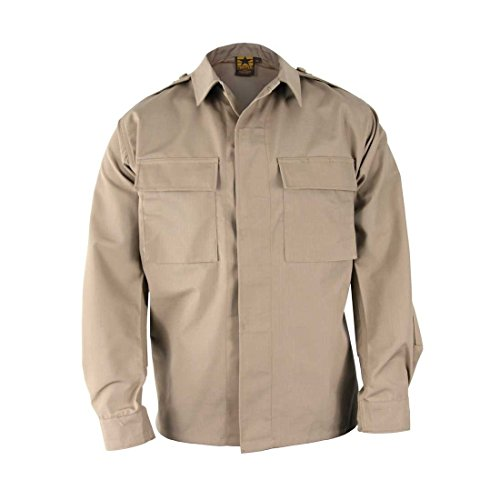 Khaki Bdu Shirt (PROPPER F5452 BDU Battle Rip Shirt - Long Sleeve Khaki L Regular)