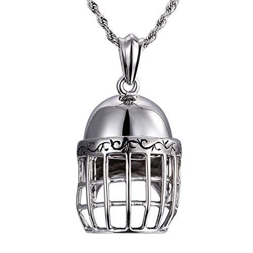 Heyrock Titanium 3D Silver Metal Baseball Sports Helmet Pendant Necklace Trendy Unisex Fashion Jewelry