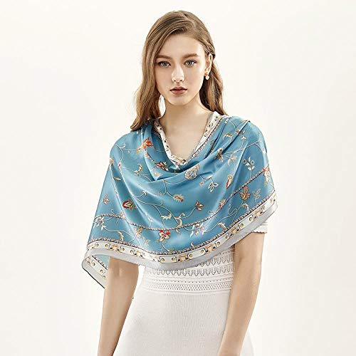 Thin sunscreen shawl with mulberry silk scarf in spring, autumn and summer, Hibiscus Hibiscus blossoms -