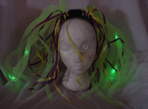 Green Noodle Witch Light Up Headband for Halloween ()