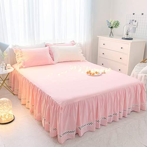 HAOLY Jupe de lit,Coton Couverture de lit,Jupe de lit Pièce Simple Coton lavé Cache-poussière, Anti-dérapant Couverture de lit-E 180x200x45cm(71x79x18inch)