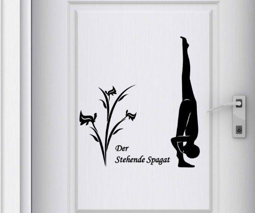 Türaufkleber Stehende Spagat Yoga Übung Sport Tür Sticker Spruch Aufkleber 5G090, Farbe:Dunkelgrau Matt;Hohe:55cm
