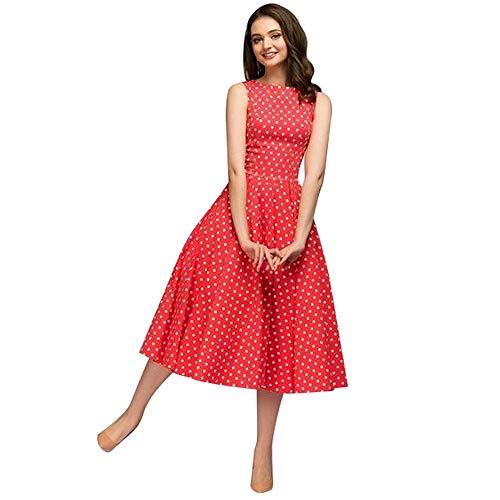 HupoopWomens Dot Sleeveless Hebburn Vintage Zip Cute Floral Knee Length ()