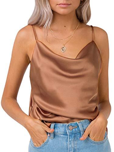 MsLure Damen Sommer Top Satin V-Ausschnitt Ärmelloses Seide Tank Top Camisole Top Feminino Unterhemd, Braun, EU 38/M - Cami Seide Top Shirt