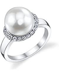 10mm White Freshwater Cultured Pearl & Crystal Sparkling Circle Ring