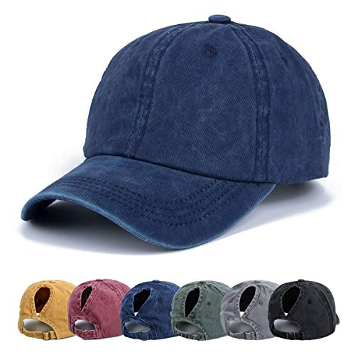 59b386ea0 Ponytail Baseball Hats Cap - Unisex Washed Trucker Hat Dad Cap, Solid Color  Adjustable Sun Hat Messy High Bun Cap Retro Pony Caps (Navy)