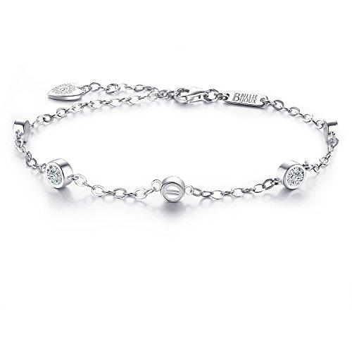 Billie bijoux 925 argento sterling cz diamond bracelet placcato in oro bianco braccialetto semplice regolabile regalo per donne, mamma