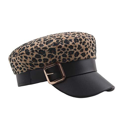 Xuyaowzr Net Red Leopard Navy Hut, weibliche Herbst und Winter koreanische Version der Wild Fashion Cap, Hipster PU Leder Cap, Flache Zylinder,Smallleopard