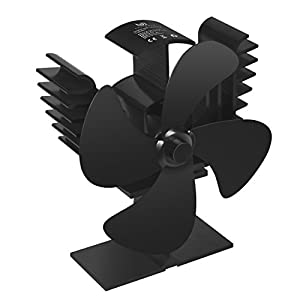 Youlanda 4 Blade Heat Powered Stove Fan for Log Wood Burner, Fireplace Accessories