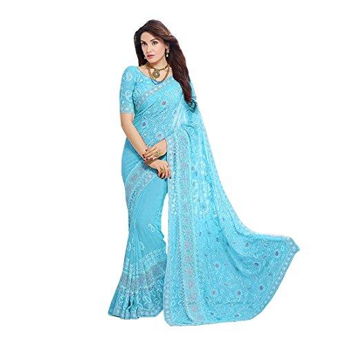 Craftsvilla Women's Chiffon Zari Embroidery Saree with Blouse Piece (Sky Blue)