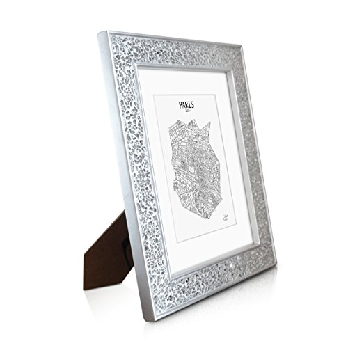 "Silver Photo Frame - 10x8"" Frame - GLASS Front Mosaic - With Picture Mount for 5x7 Photo - 4cm Edge Width - Sparkling Silver"
