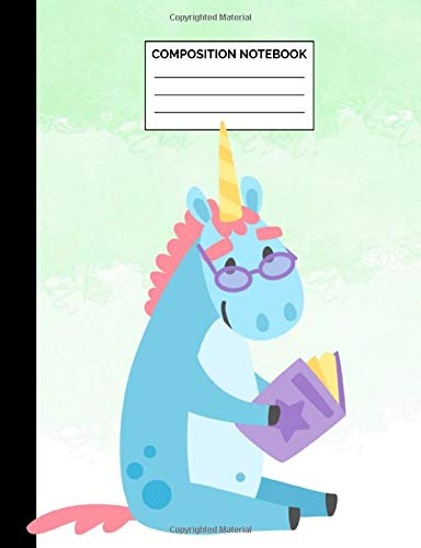 Composition Notebook: Blue Unicorn with Glasses Reading Wide Ruled Lined Note Book - Cute Exercise Book & Journal with Lines for Kids, Teens, Students ... Lined Pages / 50 Sheets - Size 7.44 x 9.69