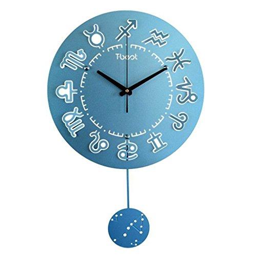 GuoEY Die Konstellationen 12 Lounge von der Uhr Wanduhr Quarz/kreative moderne Mute (Farbe blau)