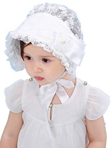 WeiL CL Cute Baby Mädchen Lacy Bonnet Öse Bogen Blume Atmungsaktive Baumwolle Spitze Sun Stickerei Baby Hut (White 1) (Lacy Socken Für Babys)