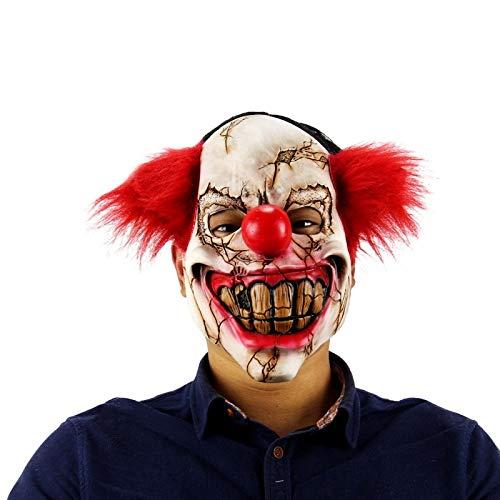 Macxy - Halloween-Maske Scary Clown Latex Full Face Big Mouth Red Hair Nose Cosplay Horror Maskerade Maske-Geist-Party-Maske [C] (Scary Vogelscheuche Halloween-masken)