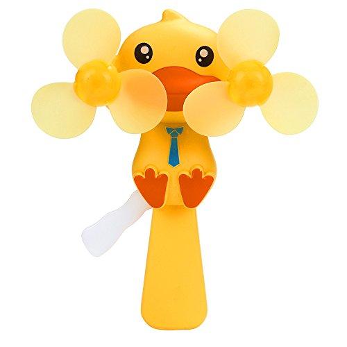 SEWORLD Mini Tragbare Niedlichen Cartoon Hand Drucklüfter Plattenspieler Persönliche Kinder Reise Geschenk Interessanter Mini Fan Lutscher Kleine Fan Tier Kind Spielzeug Ente(Gelb)