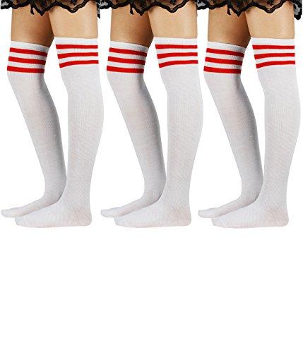 Azue Damen Baumwolle Dünn Über Knie-Lange Overknee Socken Sportsocken Kniestrümpfe Strümpf mit 3 Streifen 3er Pack Weiss mit Rot