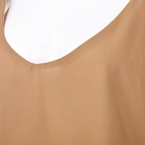 Amuster Femmes V Neck débardeurs en mousseline de soie sans manches chemise Blouse Kaki