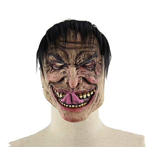 QJKai Lange Zunge elenden männlichen Halloween Bar Tanz Requisiten Terrorist lustige Latex Maske