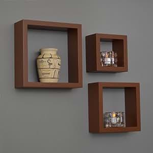 ts-ideen Lot de 3 étagères cubiques murales multi-usages Marron ultra brillant