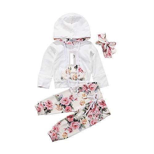 Wang-RX Bebé recién Nacido Ropa para niñas Abrigo con Capucha Tops Pantalones Largos Diadema Infantil...
