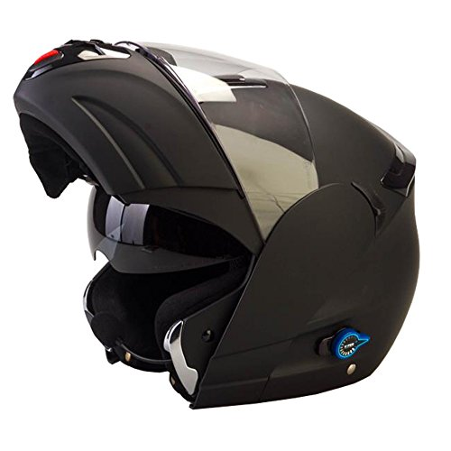 Viper rsv-131Bluetooth 3.0con tapa frontal motocicleta casco tapa–negro mate