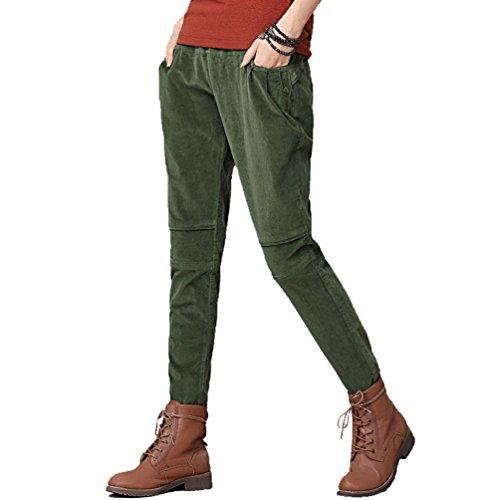 YOUJIA Damen Elastische Taille Full Length Harem Hosen Kordhose Corduroy Trousers (Armee Grün, L)