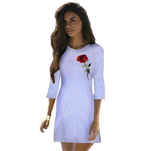 Loveso-Women Clothes Bekleidung Kleid Loveso Sommerkleid Damen Mode Elegant Rose Stickerei Trompetenärmel Blau Streifen Polyester Kurzen Kleid ((Größe):38 (L), Blau)