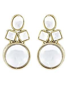 Shining Diva Kundan Stylish Fancy Party Wear Ear Rings / Earrings For Women & Girls(White)(8413er)