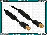 Antennenkabel IEC 0,5m Stecker/Buchse schwarz gerade >85dB, Koax, 0,5m Stecker/Buchse, mit Mantelstromfilter