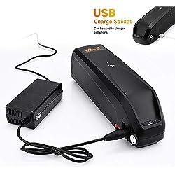 X-go Batterie 48V Velo Batterie pour vélo électrique Batterie 48V 13AH Li-ION avec Port USB + Chargeur + Protection BMS,Convient pour Moteur 250W -1000W (Noir)