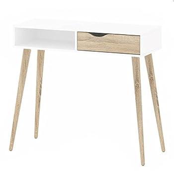 Modern Retro Style 60s 70s Dressing Console Table/Desk DELTA White/sonoma  Oak