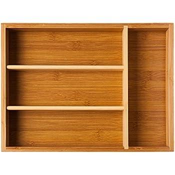 mDesign boite à couvert en bambou organisateur tiroir pour ...