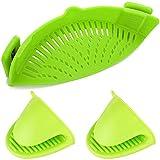 GLQ Filtro in Silicone, Clip Colander in Silicone, Adatto a Tutti i vasi di Fiori e Ciotole 2 Guanti di Silicone Limone Verde Sicuro e Durevole