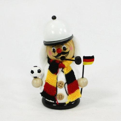 Räuchermann als Fussballer mit schwarz / rot / goldem Outfit, ca. 12 (Outfits Weihnachtliche)