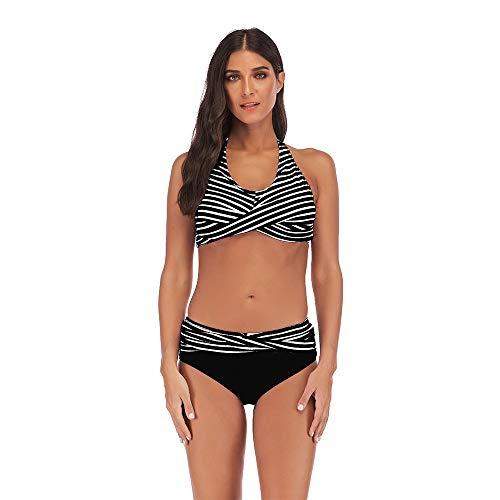 Dfgerten Frauen gestreiften Halfter Kragen Bikini Set große Zweiteilige Strandurlaub Badeanzug Push High Twist vorne verdickter BH mit niedriger Taille Badebekleidung Sexy Damen-Bikini-Set